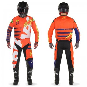 Tenue Kid Alpinestar Racer Braap Orange Fluo Bleu Blanc